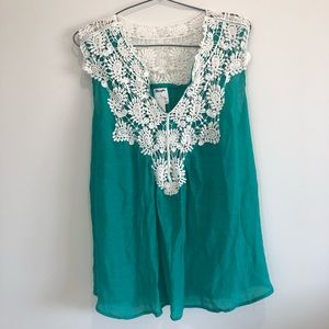 Wrangler Women's Green Western Sleeveless Top Sz M